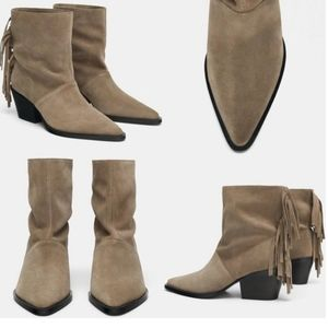 NWT  ZARA  tape ankle boots